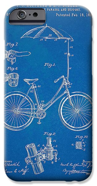 Vintage Bicycle Parasol Patent Artwork 1896 iPhone Case by Nikki Marie Smith
