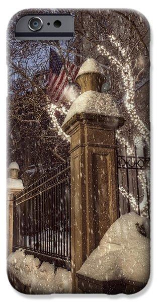 New England Snow Scene iPhone Cases - Vintage Boston Sidewalk in Winter iPhone Case by Joann Vitali