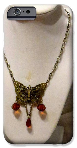 Vintage Jewelry iPhone Cases - Vintage Butterfly Dreams necklace iPhone Case by Victoria Beasley