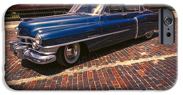 Shape iPhone Cases - Vintage Cadillac and Train In Old Town Petersburg Virginia iPhone Case by Melissa Messick