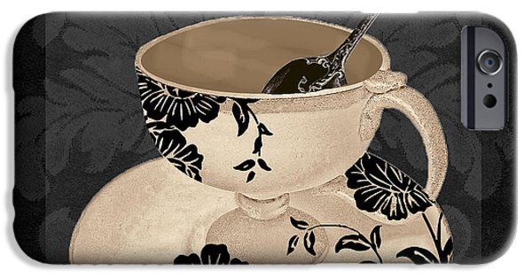Espresso Paintings iPhone Cases - Vintage Cafe II iPhone Case by Mindy Sommers