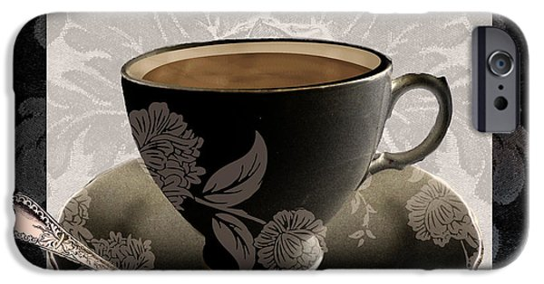 Espresso Paintings iPhone Cases - Vintage Cafe III iPhone Case by Mindy Sommers