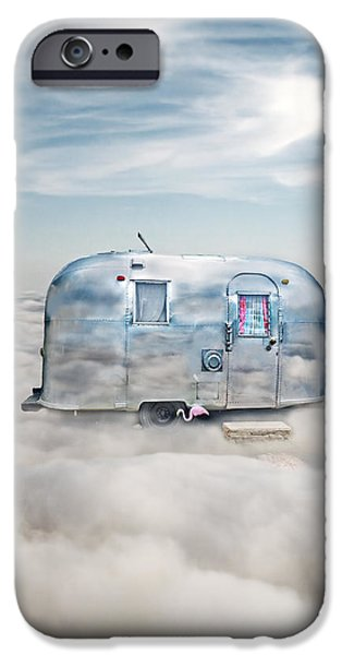 Heavenly iPhone Cases - Vintage Camping Trailer in the Clouds iPhone Case by Jill Battaglia