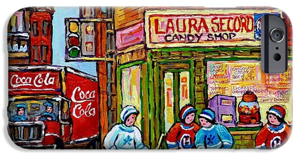 Hockey Paintings iPhone Cases - Vintage Candy Store And Coca Cola Truck Paintings Hockey Game At Laura Secord Montreal Winter Scene  iPhone Case by Carole Spandau