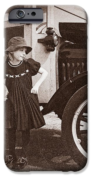 Vintage Car and Old Fashioned Girl iPhone Case by Shawna Mac