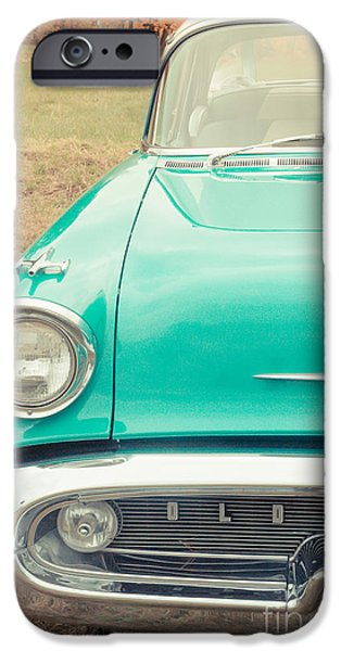 Vehicles iPhone Cases - Vintage Car in a Field iPhone Case by Edward Fielding