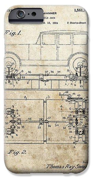 Repairman iPhone Cases - Vintage Car Jack Patent  iPhone Case by Dan Sproul