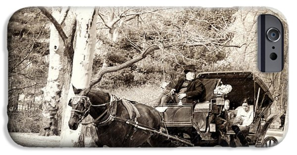 Horse And Buggy iPhone Cases - Vintage Carriage Ride in Central Park iPhone Case by Vicki Jauron