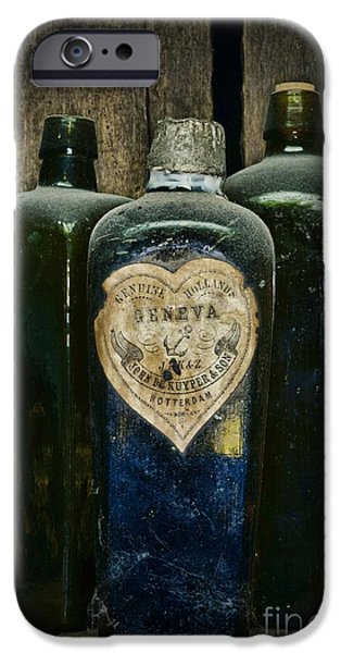 Colonial Man iPhone Cases - Vintage Case Gin Bottles iPhone Case by Paul Ward
