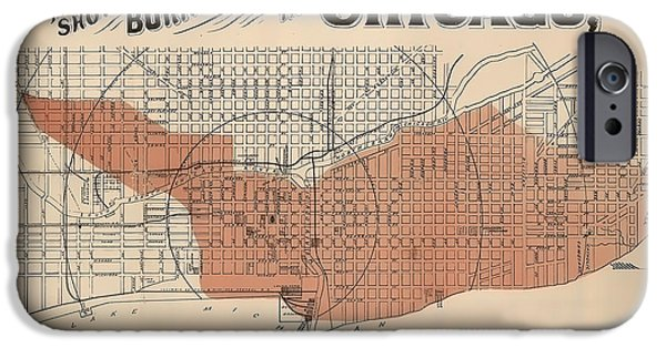 Old Chicago Water Tower iPhone Cases - Vintage Chicago Fire Map iPhone Case by Stephen Stookey
