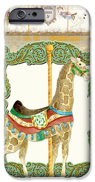 Carousel iPhone Cases - Vintage Circus Carousel - Giraffe iPhone Case by Audrey Jeanne Roberts