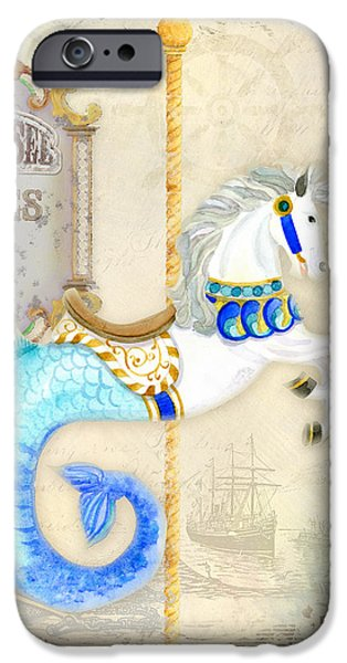 Carousel iPhone Cases - Vintage Circus Carousel - Seahorse iPhone Case by Audrey Jeanne Roberts
