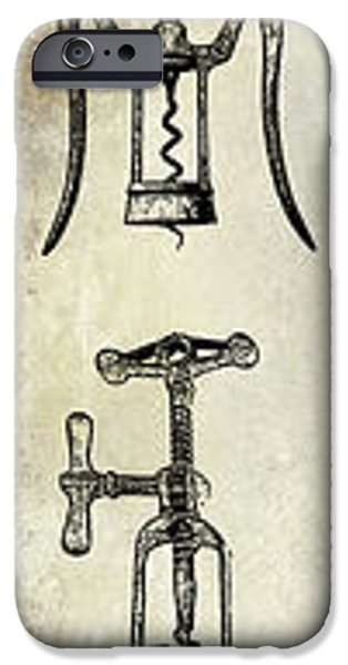 Wine Bottles iPhone Cases - Vintage Corkscrews iPhone Case by Jon Neidert