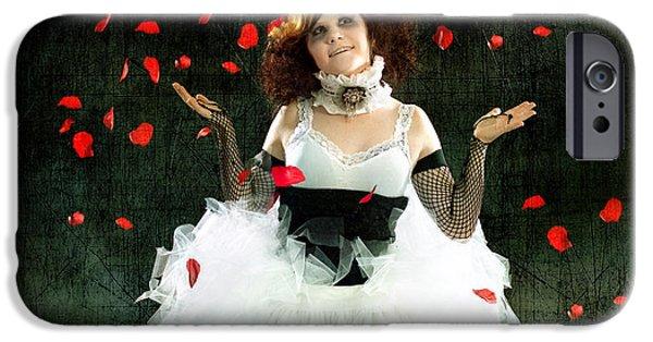 Juggling iPhone Cases - Vintage Dancer Series Raining Rose Petals  iPhone Case by Cindy Singleton