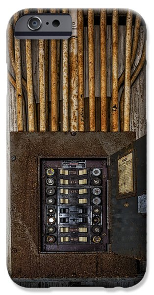 Electrician iPhone Cases - Vintage Electric Panel iPhone Case by Susan Candelario