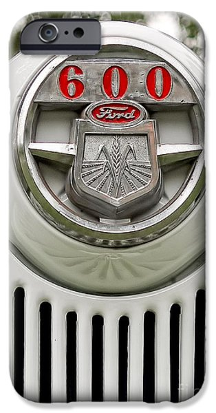 John Deere Tractor iPhone Cases - Vintage Ford 600 Nameplate Emblem iPhone Case by Edward Fielding