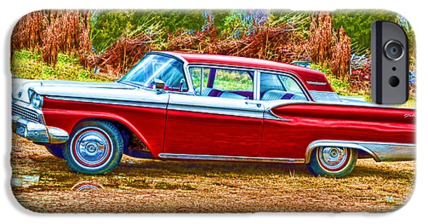 Vintage Cars iPhone Cases - Vintage Ford Galaxie iPhone Case by Lesa Fine