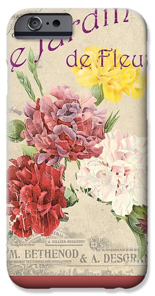 Sign iPhone Cases - Vintage French Flower Shop 4 iPhone Case by Debbie DeWitt