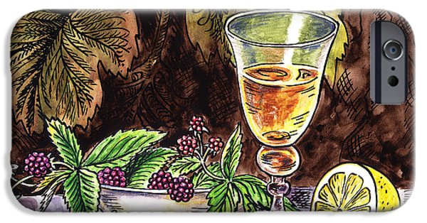 Table Wine iPhone Cases - Vintage Glass With Lemon And Berries iPhone Case by Irina Sztukowski