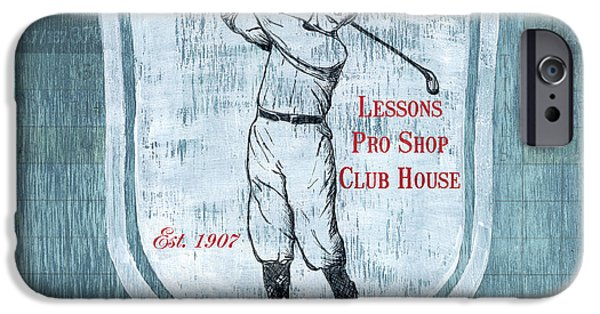 Golf Course iPhone Cases - Vintage Golf Blue 1 iPhone Case by Debbie DeWitt