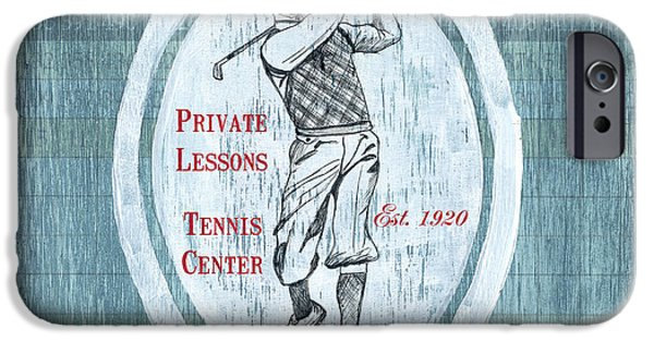 Golf Course iPhone Cases - Vintage Golf Blue 2 iPhone Case by Debbie DeWitt