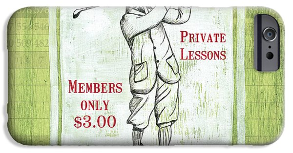 Golf Course iPhone Cases - Vintage Golf Green 1 iPhone Case by Debbie DeWitt