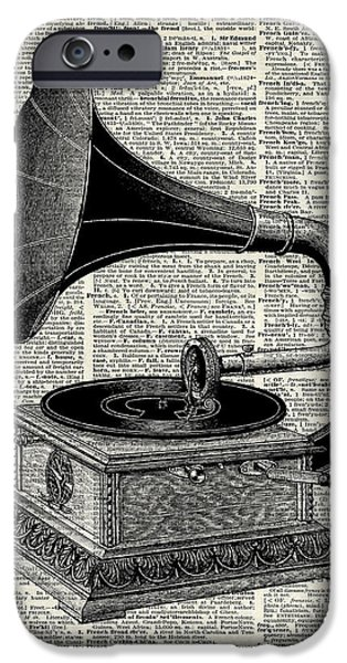 Musican Drawings iPhone Cases - Vintage gramophone iPhone Case by Jacob Kuch