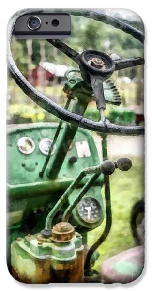 John Deere Tractor iPhone Cases - Vintage Green Tractor Steering Wheel iPhone Case by Edward Fielding