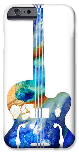 Player Mixed Media iPhone Cases - Vintage Guitar - Colorful Abstract Musical Instrument iPhone Case by Sharon Cummings