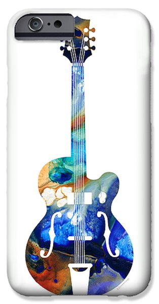 Antiques Mixed Media iPhone Cases - Vintage Guitar - Colorful Abstract Musical Instrument iPhone Case by Sharon Cummings