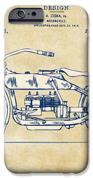 Vintage Harley-Davidson Motorcycle 1919 Patent Artwork iPhone Case by Nikki Smith