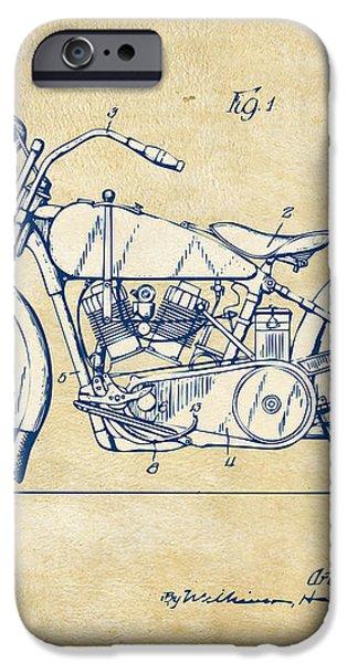 Vintage Harley-Davidson Motorcycle 1928 Patent Artwork iPhone Case by Nikki Smith