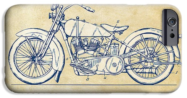 Motorcycle iPhone Cases - Vintage Harley-Davidson Motorcycle 1928 Patent Artwork iPhone Case by Nikki Smith