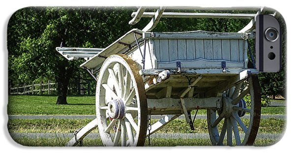 Old Digital Art iPhone Cases - Vintage Horse Wagon iPhone Case by Melissa Messick