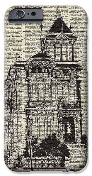 Buildings Mixed Media iPhone Cases - Vintage House over Dictionary page iPhone Case by Jacob Kuch