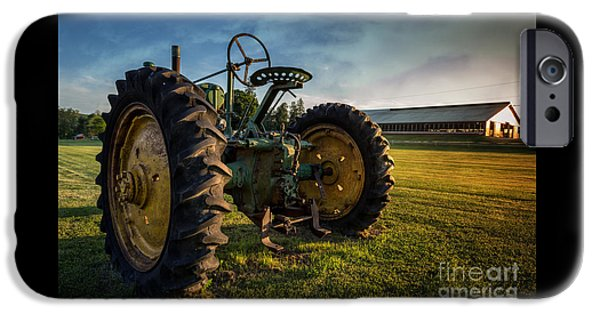 John Deere Tractor iPhone Cases - Vintage John Deere at Sunset iPhone Case by Edward Fielding