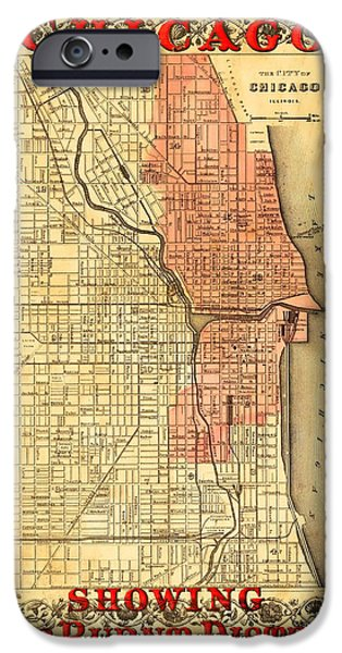 Old Chicago Water Tower iPhone Cases - Vintage Map of Chicago Fire iPhone Case by Stephen Stookey