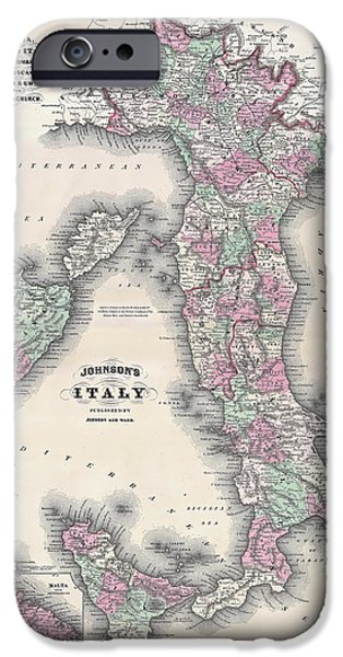 Recently Sold -  - Business iPhone Cases - Vintage Map of Italy iPhone Case by Stephen Stookey