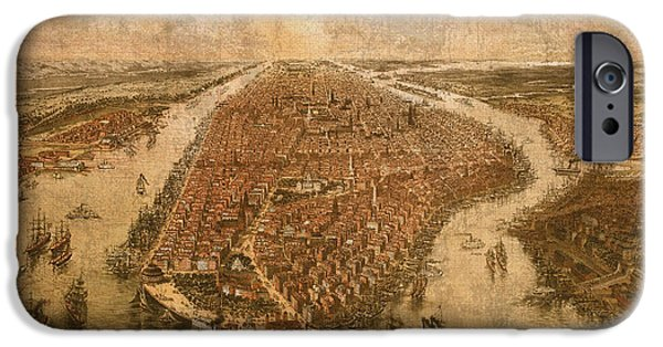 Manhattan Mixed Media iPhone Cases - Vintage Map of Manhattan New York City NYC Birds Eye View Schematic Circa 1865 on Worn Distressed Canvas iPhone Case by Design Turnpike