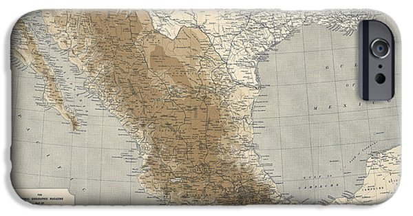 Geographic iPhone Cases - Vintage Map of Mexico - 1911 - National Geographic iPhone Case by Blue Monocle