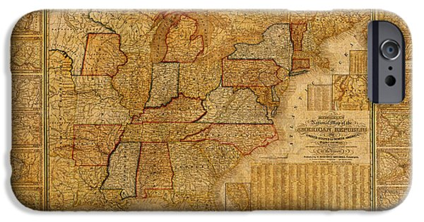 Arkansas Mixed Media iPhone Cases - Vintage Map of the United States of America USA Circa 1845 on Worn Distressed Parchment iPhone Case by Design Turnpike