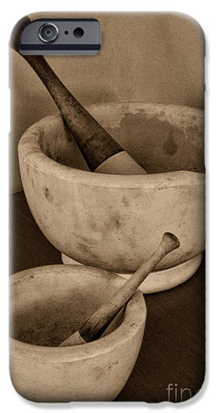 Old Grinders iPhone Cases - Vintage Mortar and Pestle One Big One Small iPhone Case by Paul Ward