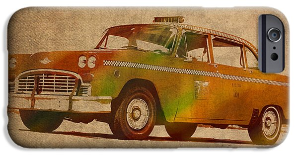 Manhattan Mixed Media iPhone Cases - Vintage New York City Taxi Cab Watercolor Painting on Worn Canvas iPhone Case by Design Turnpike