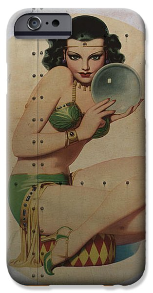 Nose Digital Art iPhone Cases - Vintage Nose Art Mystic Marla iPhone Case by Cinema Photography