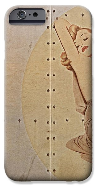 Vintage Nose Art Naughty Nadine iPhone Case by Cinema Photography