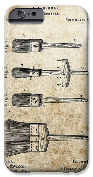 Vintage Painter iPhone Cases - Vintage Paint Brush Patent iPhone Case by Dan Sproul