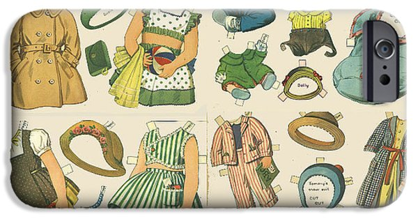 Cut-outs iPhone Cases - Vintage Paper Dolls  iPhone Case by Edward Fielding