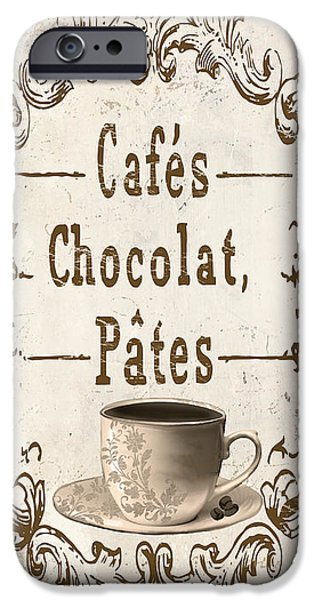 French Signs iPhone Cases - Vintage Paris Cafe Sign iPhone Case by Mindy Sommers