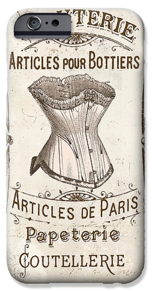 French Signs iPhone Cases - Vintage Paris Corsette Sign iPhone Case by Mindy Sommers