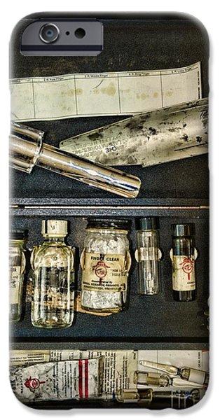 Law Enforcement iPhone Cases - Vintage Post Mortem Fingerprint Kit iPhone Case by Paul Ward